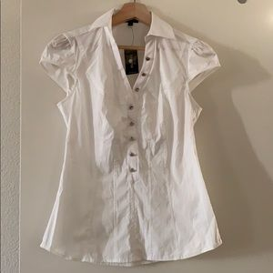 Express white blouse with silver buttons S